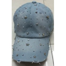 Washed Denim baseball cap with new five star diamond top quality handmade design cap wholesale OEM design baseball hat