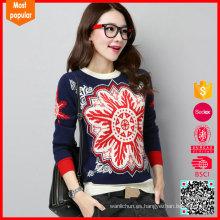 Cuello redondo de alta calidad personalizado suéteres para mujeres