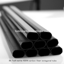 Tubo / tubo octagonal de la fibra de carbono de la tela cruzada / mate plano / del final brillante para el abejón