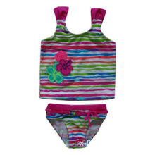 Girl's tankini with embroidery flowers, belt, beads on waist