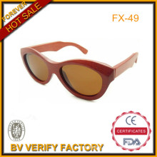 100% Pure Red Bamboo Sunglasses with Brown Polarized Lens