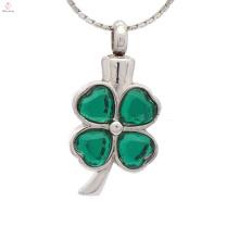 Pingente de cinzas de cristal verde memorial, cinzas de cremação de prata lembrança