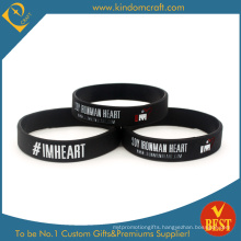 Promotional Cheap Black Printed Rubber Bracelets Silcone Wristband (LN-065)