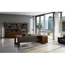 Mesa executiva de madeira de design novo com armário lateral (HF-01D25)