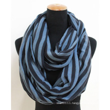 Lady Fashion Striped Acrylic Knitted Winter Infinity Scarf (YKY4395)