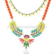 Beauty Colorful Resin Beads Alloy Double Chain Choker Necklace