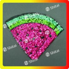 High Efficiency Factory for Applique Sequin Patches Sequins watermelon patches with heat seal supply to Portugal Exporter