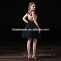 Hot sell short design wedding brides maid gown black color knee length bridesmaid dress wholesale with sweet hear neckline