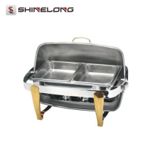 C080 Titanium Plated Rectangular Roll Top Chafing Dish Set / Chafing Fuel