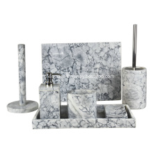 7pcs White Marble Bathroom Accessories Set
