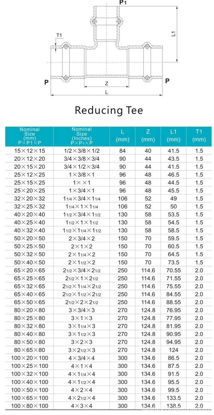 reducing tee