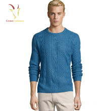 Cable Knit Cashmere Men Sweater Cable Crew Neck Sweater