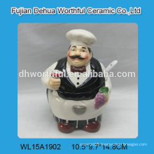Decorative chef shaped ceramic sugar container with spoon
