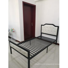 Hot Sale Chinese Furniture Dormitory Office Single Size Metal Bed with Leather Headboard