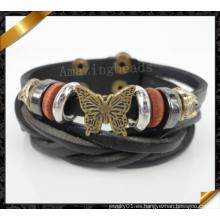 Bronce antiguo pulsera de cuero de la mariposa, pulseras de cuero al por mayor 2014 (fb0102)