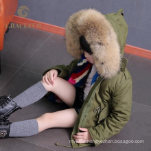 Outstanding manufacture raccoon fur collar parka kids thick winter jacket