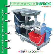 maid cleaning trolley with wringer equipment for hotel service