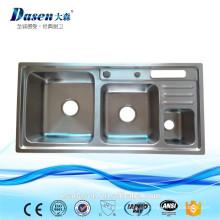 DS 9245 Thailand heiße verkaufende Doppelschüsselwanne mit rubbusih Behälter und beweglicher Shampoo upc sinken mit Plastikspülbecken des Hahns