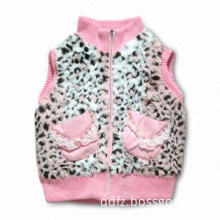 Fur Vest with Pearl and Lace Decoration