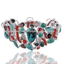 La última turquesa tibetana del diseño y pulsera de plata esterlina 925 de la piedra preciosa multi