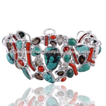 Последний Дизайн Тибетский Бирюзовый И Мульти Драгоценных Камней 925 Серебряный Браслет