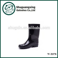 Listo o PVC transparente lluvia Botas de lluvia para hombre botas lluvia zapatos moda W-R078 de fondo plano hombre