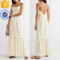 Fringed Broderie Anglaise Cotton Maxi Dress Manufacture Wholesale Fashion Women Apparel (TA4092D)