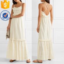Vestido de algodón con flecos Broderie Anglaise Maxi Dress Manufacture Wholesale Fashion Women Apparel (TA4092D)
