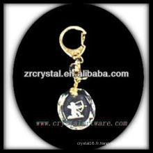 Keychain en cristal de LED avec l'image gravée par laser 3D à l'intérieur et le keychain en cristal blanc G028
