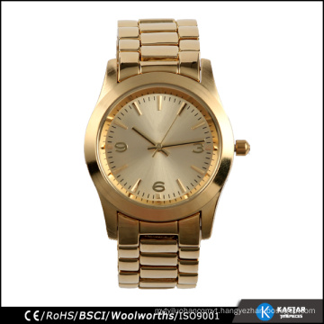Hot selling fashion quartz watch gold woman with logo custom