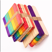 Factory sale Custom Printed 114mm*10mm*2mm colorful  Wooden Ice Cream Stick for kids diy