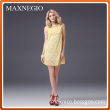 Elegant Lady Clothing Party Dress with Lace Skirt (3-19859)