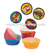 Promotional party decoration mini round paper cupcake topper in boom exaggerated effect