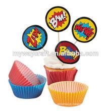 Decoração de festa promocional mini papel redondo cupcake topper em boom efeito exagerado