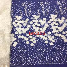Tissu Brodé 3D en dentelle avec des fleurs blanches