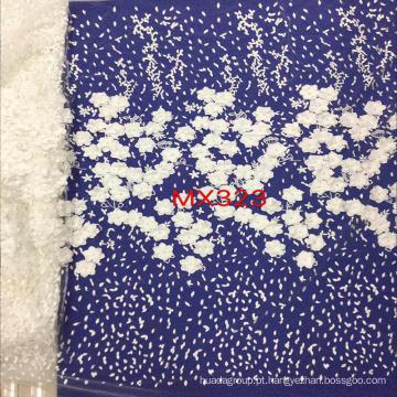 Tecido branco do bordado do laço da flor 3D