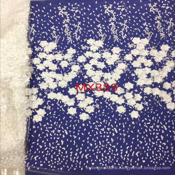 White 3D Flower Lace Embroidery Fabric