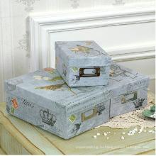 Высококачественная печать Бумажные коробки для хранения с металлическим держателем этикеток
