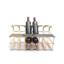 18 Bottle Natural  Top Display Wood and Steel Wine Rack