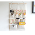 Cotton Fabric Wall Door Hanging Storage Organizer with 12 Pockets and 2 Hooks Home Closet Shelves