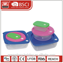 lancheira de plástico estanque bento com compartimentos, caixa de almoço de beto de fechamento lateral, caixa de almoço barato por atacado bento