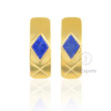 18k Gold Lapis Ohrringe, schöne Diamant Form Ohrringe für Frauen