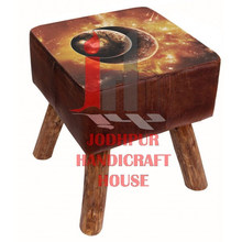 Square Leather Printed Stool