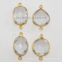 Vermeil Crystal Quartz Bezel Connector Gemstone para Bezel Jewelry