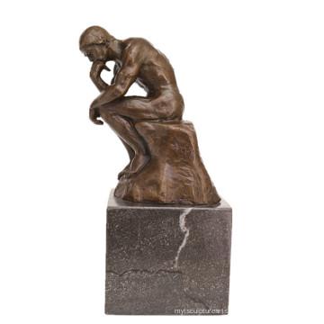 Escultura de bronce de la figura clásica La estatua de latón de Deco del pensador TPE-185