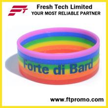 2016 Wristband venda quente do silicone do arco-íris com OEM