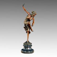 Tänzerin Statue Blume Dame Bronze Skulptur TPE-459