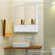 White Bathroom Cabinet with 2 Doors and Mirror