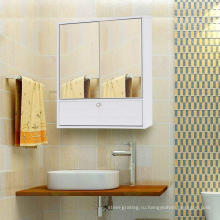 Белый шкаф для ванной комнаты с 2 дверьми и зеркалом