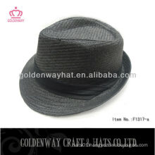 cheap paper straw Black fedora hat with folding band